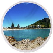 Mt Maunganui Beach 9 - Tauranga New Zealand Round Beach Towel