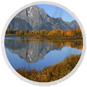 Mt. Moran Fall Reflection  Round Beach Towel