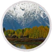 Mt Moran From Ox Bow Bend Round Beach Towel