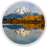 Mt Moran From Ox Bow Bend On A Fall Morning Round Beach Towel