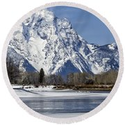 Mt Moran From Oxbow Bend Round Beach Towel