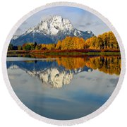 Mt Moran From The Ox Bow Round Beach Towel