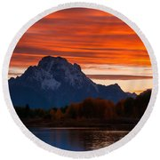 Mt. Moran Sunset Round Beach Towel