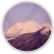 Mt Rainer From The Wenas Valley  Round Beach Towel