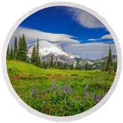 Mt Rainier And Wildflowers Round Beach Towel