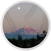 Mt Rainier August Moon Round Beach Towel