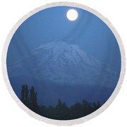 Mt Rainier Full Moon Round Beach Towel