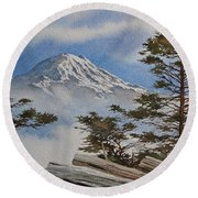 Mt. Rainier Landscape Round Beach Towel