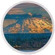 Mt Rainier Sunset Round Beach Towel