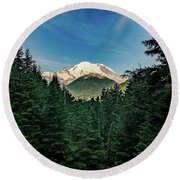 Mt Rainier Through The Trees Round Beach Towel