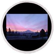 Mt Rainier Winter Sunrise-1 Round Beach Towel