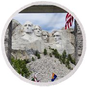 Mt Rushmore Entrance Round Beach Towel