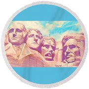 Mt Rushmore Round Beach Towel