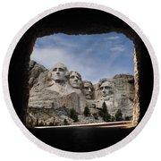 Mt Rushmore Tunnel Round Beach Towel