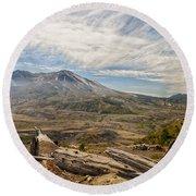 Mt St Helens Round Beach Towel by Brian Harig