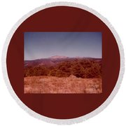 Mt Taylor In New Mexico  Round Beach Towel