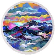 Mts. In The Sea Round Beach Towel
