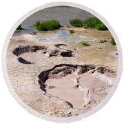 Mud Volcano Area In Yellowstone National Park Round Beach Towel