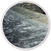 Mudflats Frozen Round Beach Towel