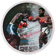 Muhammad Ali And Joe Frazier Round Beach Towel