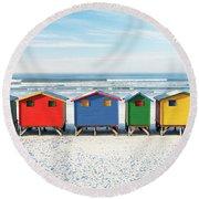 Muizenberg Beach Huts 2 Round Beach Towel
