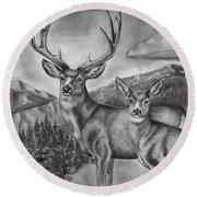 Mule Deer Heaven Round Beach Towel