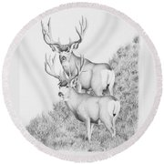 Mule Deer Study Round Beach Towel