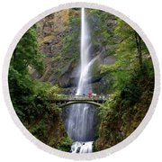 Multanomah Falls Round Beach Towel