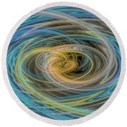 Multi Color Line Art Blue Yellow Gray Green Round Beach Towel