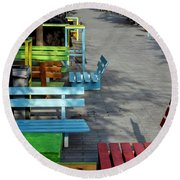 Multi-colored Benches On The Pedestrian Zone Round Beach Towel