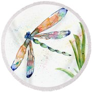 Multi-colored Dragonfly Round Beach Towel