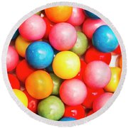 Multi Colored Gumballs. Sweets Background Round Beach Towel