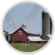 Multi Silo Farm Round Beach Towel