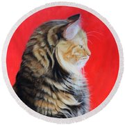 Multicolored Cat In Red Background  Round Beach Towel
