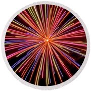 Multicolored Fireworks Round Beach Towel