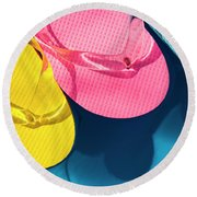 Multicolored Flip Flops Floating In Pool Round Beach Towel