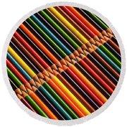 Multicolored Pencils In Rows Round Beach Towel