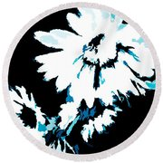 Mums In Abstract Round Beach Towel