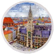 Munich Cityscape Round Beach Towel