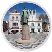 Municipal Square In Cascais Portugal Round Beach Towel