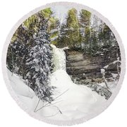 Munising Fall Upper Michigan Round Beach Towel