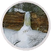 Munising Falls Frozen Round Beach Towel