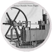 Murrays Portable Steam Engine, 19th Round Beach Towel