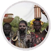 Mursi Tribesmen In Ethiopia Round Beach Towel