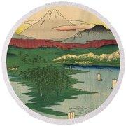 Musashi Noge Yokohama - Noge Yokohama In Musashi Province Round Beach Towel