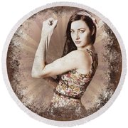 Muscle And Strength Pinup Poster Girl Round Beach Towel