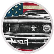 Muscle Us Mustang Round Beach Towel