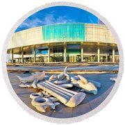 Museum Of Contemporary Art In Zagreb Round Beach Towel