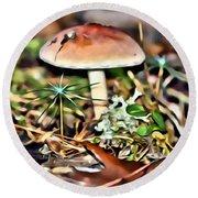 Mushroom And Moss Round Beach Towel