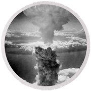 Mushroom Cloud Over Nagasaki  Round Beach Towel